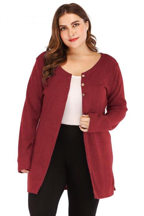 Women Cardigan Coat Autumn Long Sleeve Button Casual Basic Plus Size Jacket crimson
