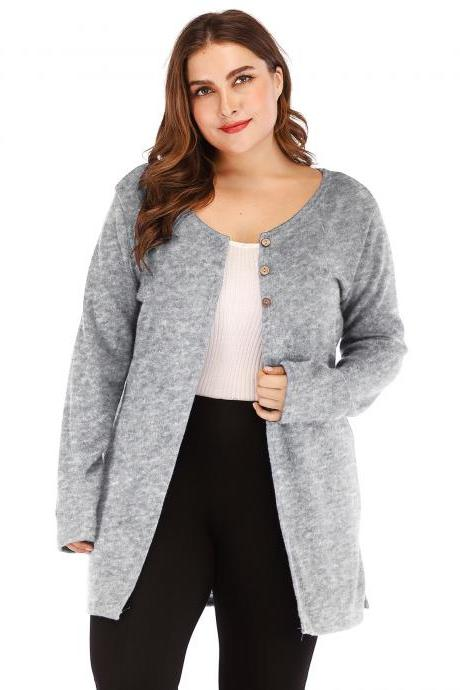 Women Cardigan Coat Autumn Long Sleeve Button Casual Basic Plus Size Jacket gray