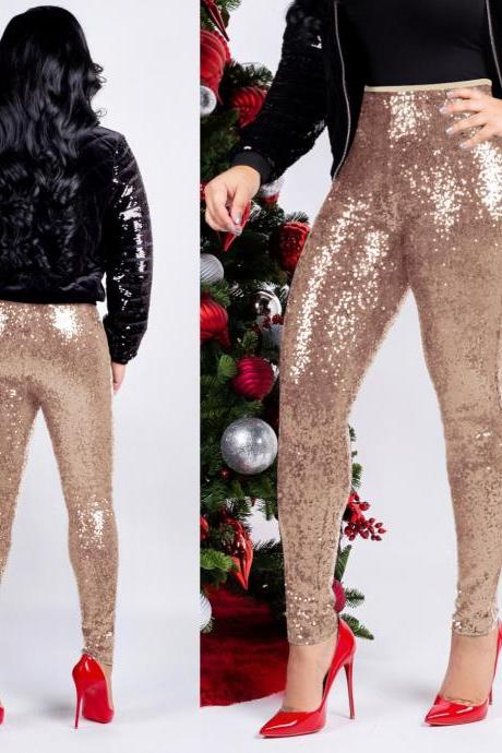Women Sequined Pencil Pants With Lining Sexy Skinny Slim Night Club Party Trousers apricot