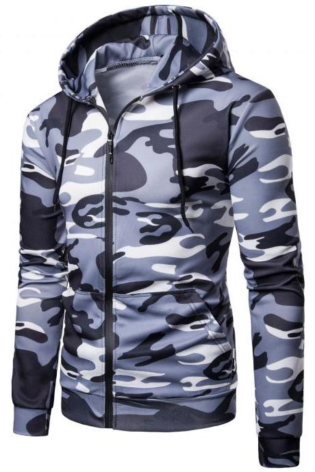 Men Camouflage Coat Spring Autumn Thin Slim Long Sleeve Zipper Hooded Jacket Windbreaker Outwear gray