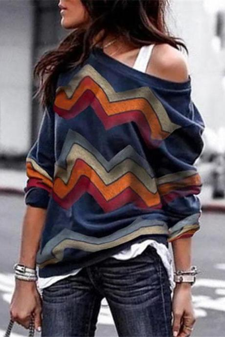 Women Long Sleeve T Shirt Spring Autumn Off Shoulder Casual Geometric Printed Pullover Tops navy blue