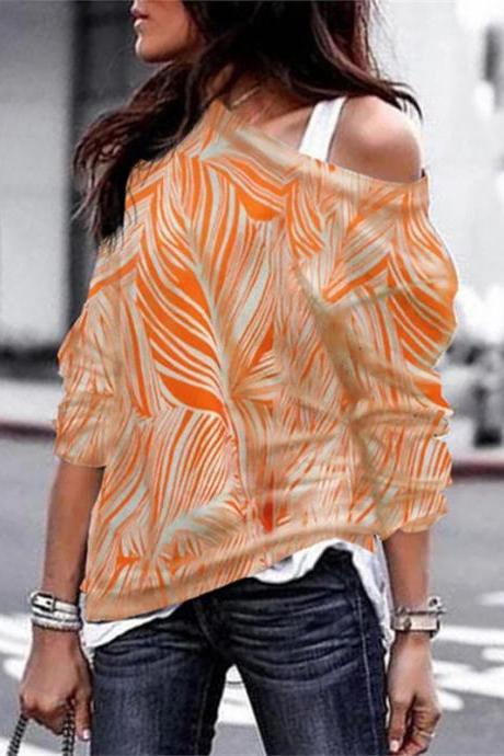 Women Long Sleeve T Shirt Spring Autumn Off Shoulder Casual Geometric Printed Pullover Tops orange