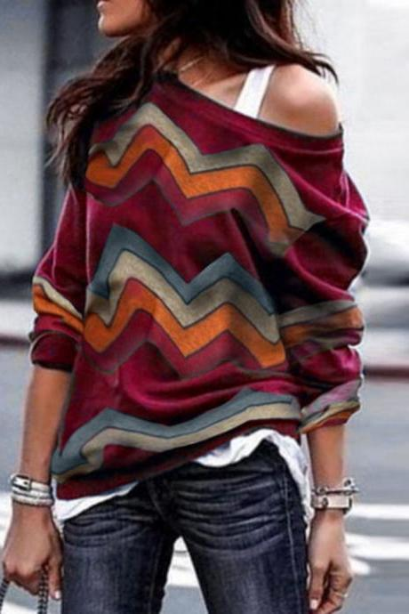 Women Long Sleeve T Shirt Spring Autumn Off Shoulder Casual Geometric Printed Pullover Tops wine red
