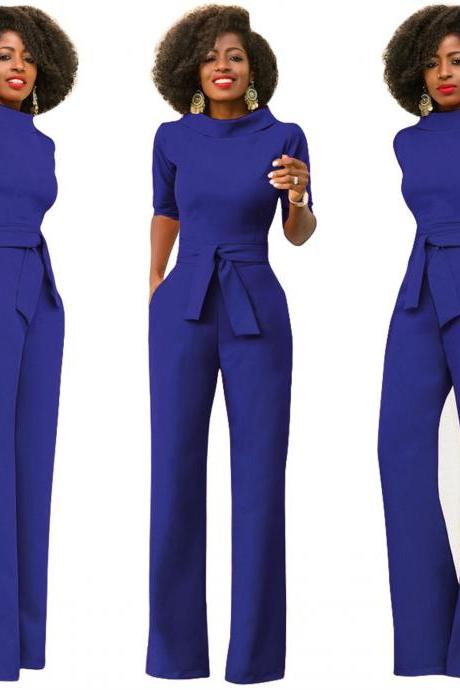 Women Jumpsuit Half Sleeve Stand Collar Belted Casual Wide Leg Pants Office Rompers Overalls royal blue