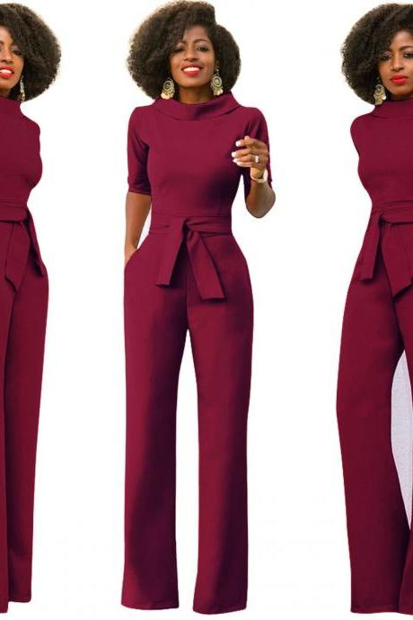 Women Jumpsuit Half Sleeve Stand Collar Belted Casual Wide Leg Pants Office Rompers Overalls wine red