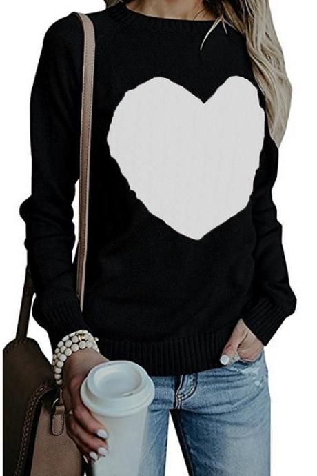Women Knitted Sweater Autumn Winter Long Sleeve Heart Pattern Casual Loose Pullover Tops black