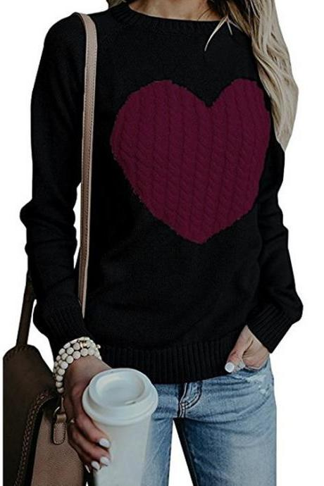 Women Knitted Sweater Autumn Winter Long Sleeve Heart Pattern Casual Loose Pullover Tops black+hot pink