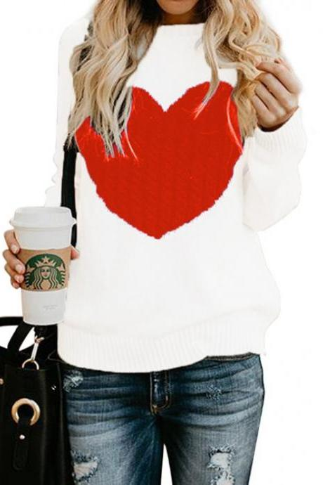 Women Knitted Sweater Autumn Winter Long Sleeve Heart Pattern Casual Loose Pullover Tops off white