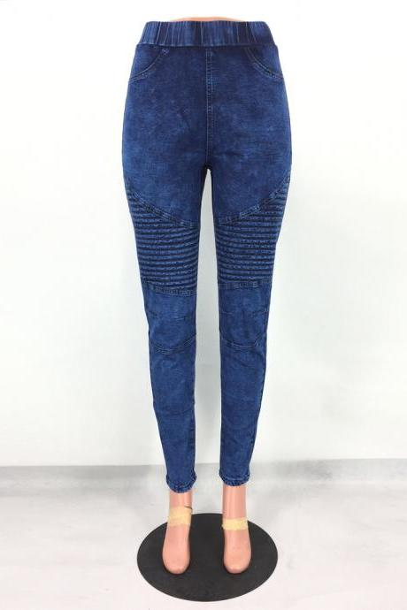 Women Denim Pants Elastic High Waist Pleasted Slim Stretch Jeans Pencil Trousers dark blue