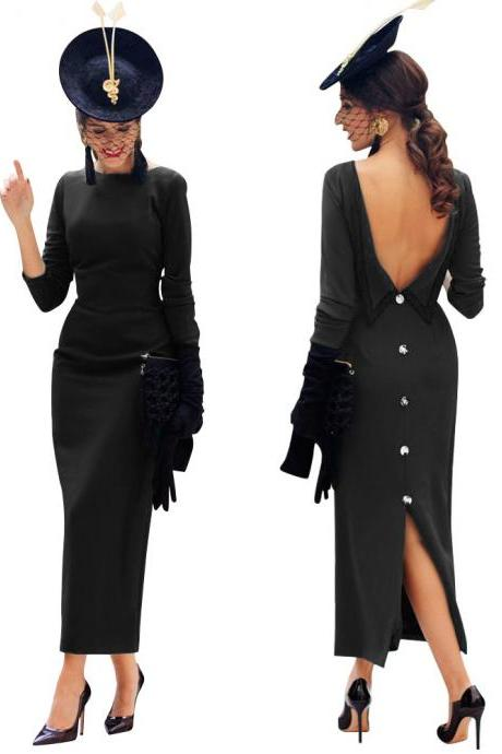 Women Maxi Dress Long Sleeve Backless V-Back Button Split Bodycon NightClub Party Dress black
