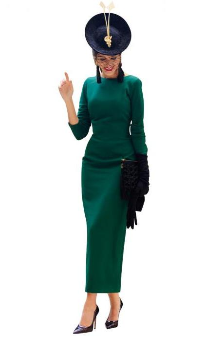 Women Maxi Dress Long Sleeve Backless V-Back Button Split Bodycon NightClub Party Dress hunter green