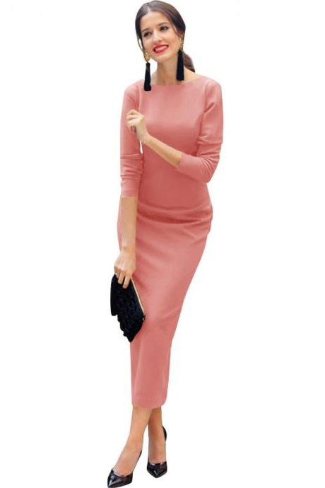 Women Maxi Dress Long Sleeve Backless V-Back Button Split Bodycon NightClub Party Dress pink