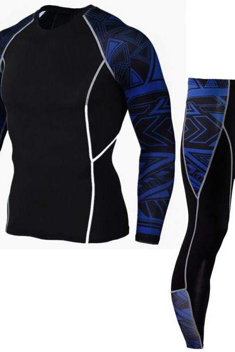 Men Tracksuit 3D Printed Long Sleeve Casual Fitness Slim Fit Sportswear Quick Dry Two Pieces Set 3#