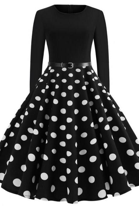 Women Polka Dot Printed Dress Long Sleeve Patchwork Slim A Line Formal Party Dress JY13107