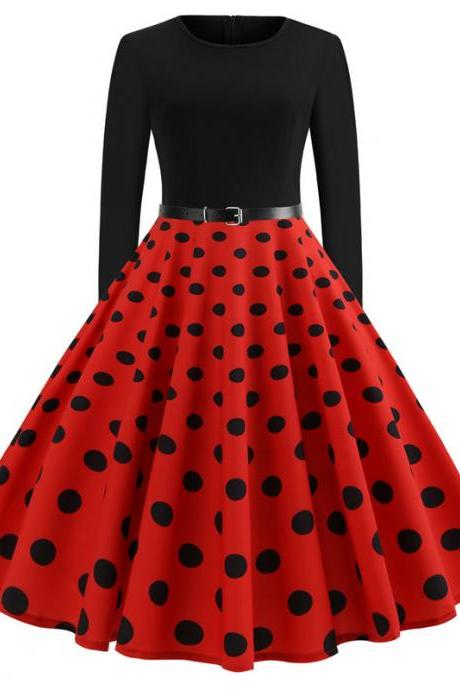 Women Polka Dot Printed Dress Long Sleeve Patchwork Slim A Line Formal Party Dress JY13108