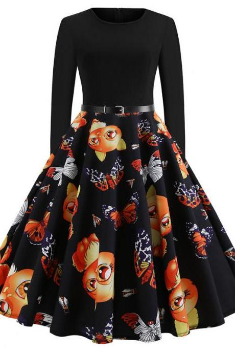Women Floral Printed Dress Long Sleeve Patchwork Slim A Line Formal Party Dress JY13109