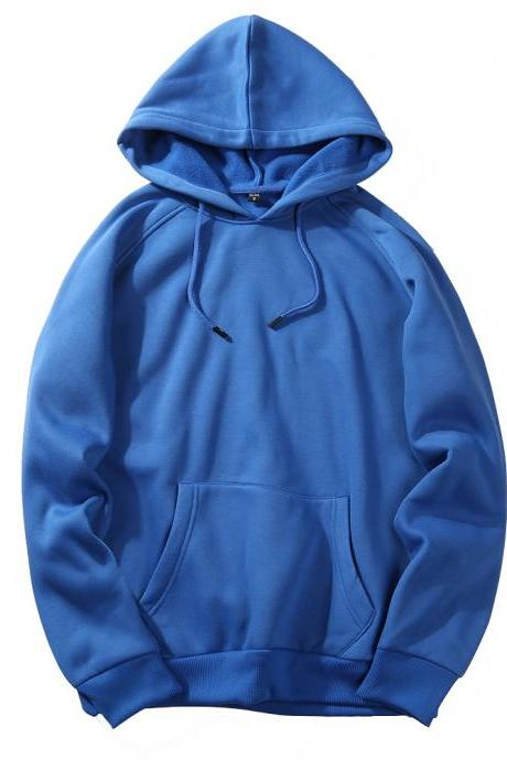 Men Hoodies Winter Warm Long Sleeve Streetwear Hip Hop Casual Hooded Sweatshirts blue