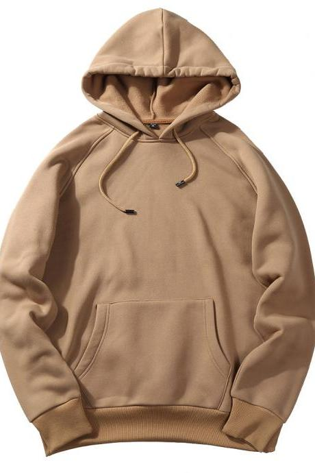 Men Hoodies Winter Warm Long Sleeve Streetwear Hip Hop Casual Hooded Sweatshirts khaki