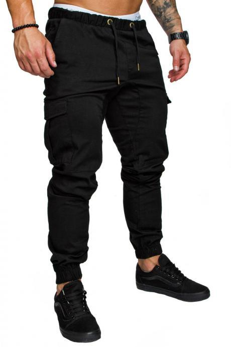 Men Pants Drawstring Waist Multi-Pocket Sports Hip Hop Harem Workout Joggers Casual Trousers black