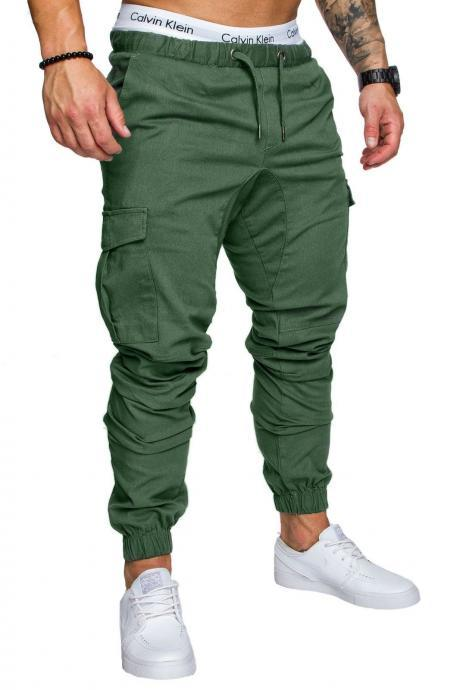 Men Pants Drawstring Waist Multi-Pocket Sports Hip Hop Harem Workout Joggers Casual Trousers green