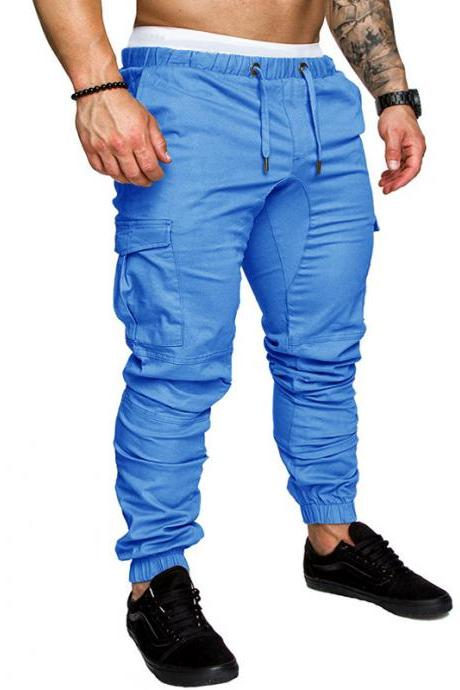 Men Pants Drawstring Waist Multi-Pocket Sports Hip Hop Harem Workout Joggers Casual Trousers light blue
