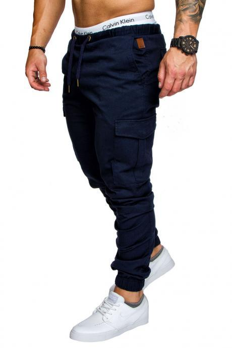 Men Pants Drawstring Waist Multi-Pocket Sports Hip Hop Harem Workout Joggers Casual Trousers navy blue