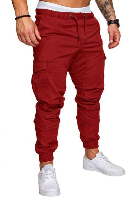 Men Pants Drawstring Waist Multi-Pocket Sports Hip Hop Harem Workout Joggers Casual Trousers red
