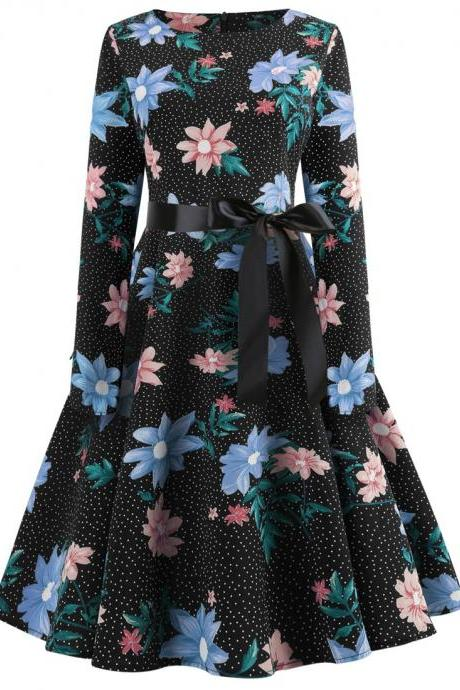 Women Floral Printed Dress Long Sleeve Belted Slim A Line Casual Party Evening Dress navy blue