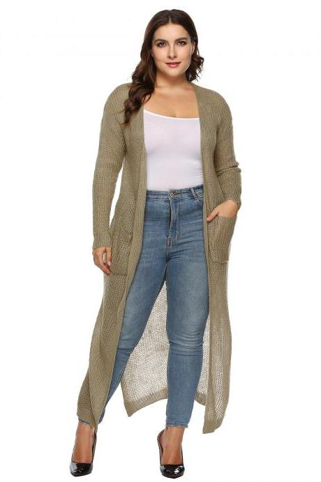 Women Knitted Sweater Coat Plus Size Long Sleeve Loose Streetwear Extra-Long Cardigan Jacket khaki