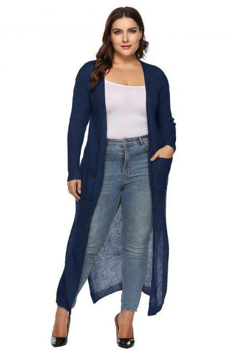 Women Knitted Sweater Coat Plus Size Long Sleeve Loose Streetwear Extra-Long Cardigan Jacket navy blue