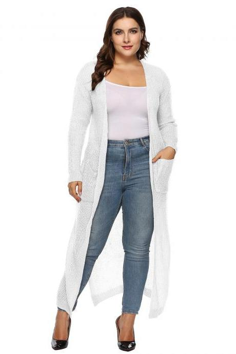 Women Knitted Sweater Coat Plus Size Long Sleeve Loose Streetwear Extra-Long Cardigan Jacket off white