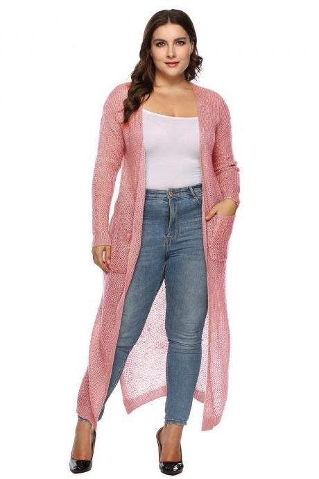 Women Knitted Sweater Coat Plus Size Long Sleeve Loose Streetwear Extra-Long Cardigan Jacket pink