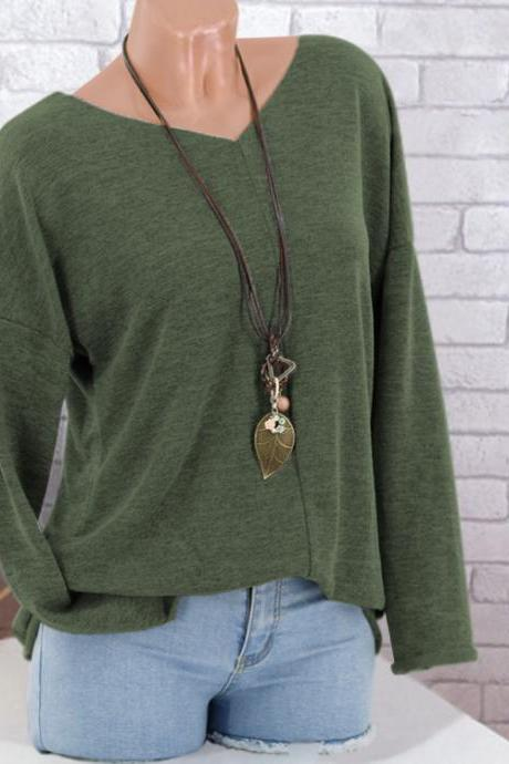 Women Knitted Sweater Autumn V Neck Long Sleeve Casual Loose Plus Size Pullover Tops green