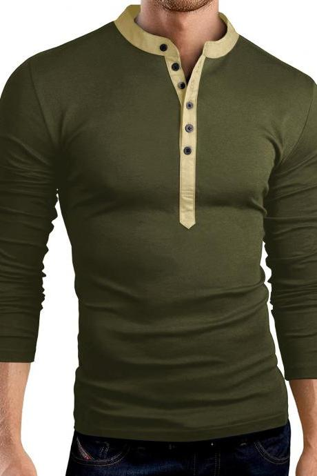 Men Long Sleeve T Shirt Spring Autumn V Neck Button Slim Fit Casual Tops army green