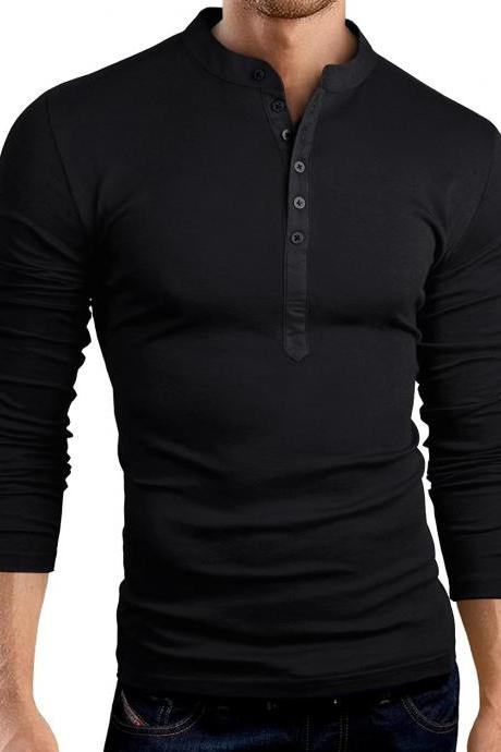 Men Long Sleeve T Shirt Spring Autumn V Neck Button Slim Fit Casual Tops black