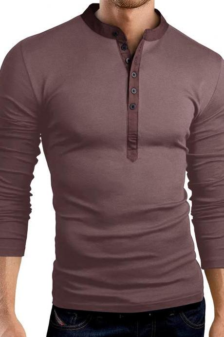 Men Long Sleeve T Shirt Spring Autumn V Neck Button Slim Fit Casual Tops coffee