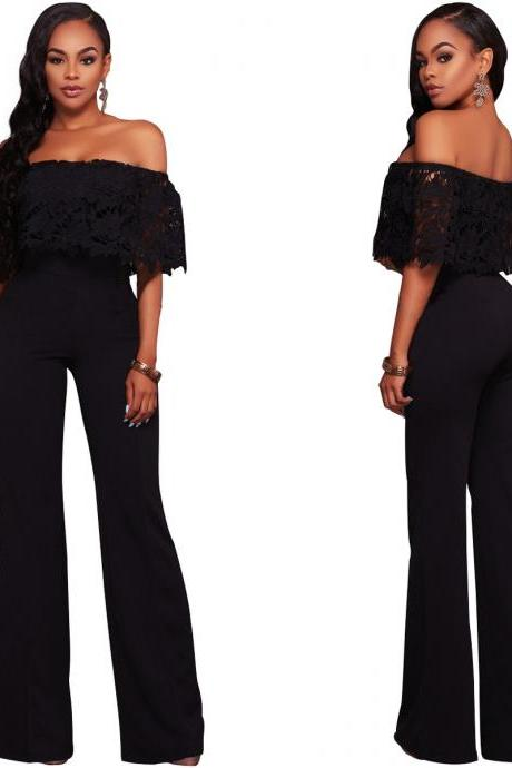 Women Jumpsuit Off the Shoulder Lace Top Strapless Wide Leg Rompers Overalls black