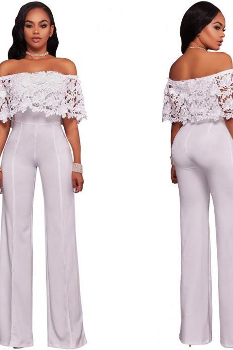 Women Jumpsuit Off the Shoulder Lace Top Strapless Wide Leg Rompers Overalls off white