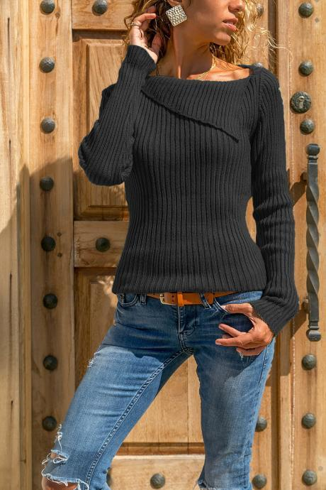 Women Knitted Sweater Autumn Winter Solid Long Sleeve Casual Pullover Tops black