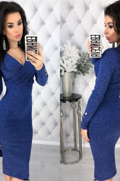 Women Knitted Pencil Dress V Neck Long Sleeve Rivet Button Bodycon Club Party Dress royal blue