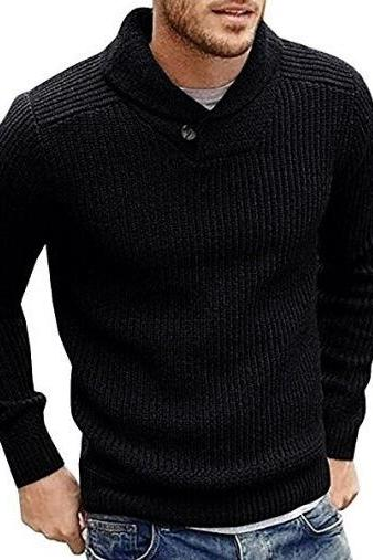 Men Knitted Sweater Autumn Winter Slim Warm Long Sleeve Casual Pullover Tops black