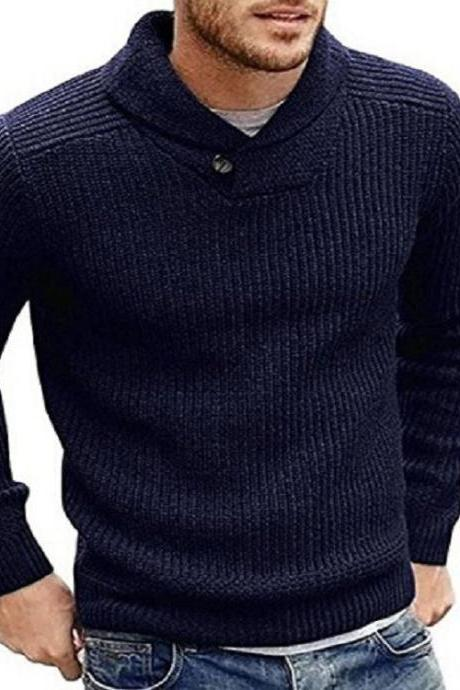 Men Knitted Sweater Autumn Winter Slim Warm Long Sleeve Casual Pullover Tops navy blue