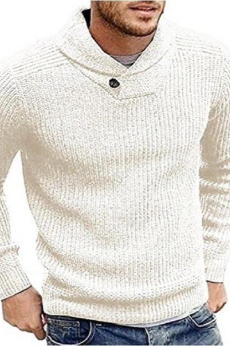Men Knitted Sweater Autumn Winter Slim Warm Long Sleeve Casual Pullover Tops off white