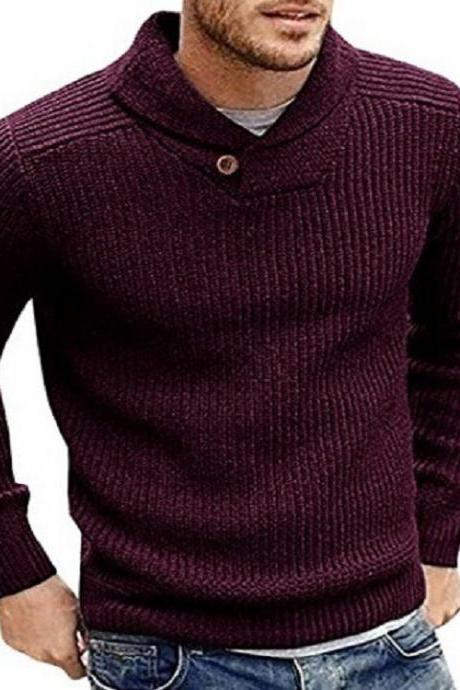 Men Knitted Sweater Autumn Winter Slim Warm Long Sleeve Casual Pullover Tops wine red