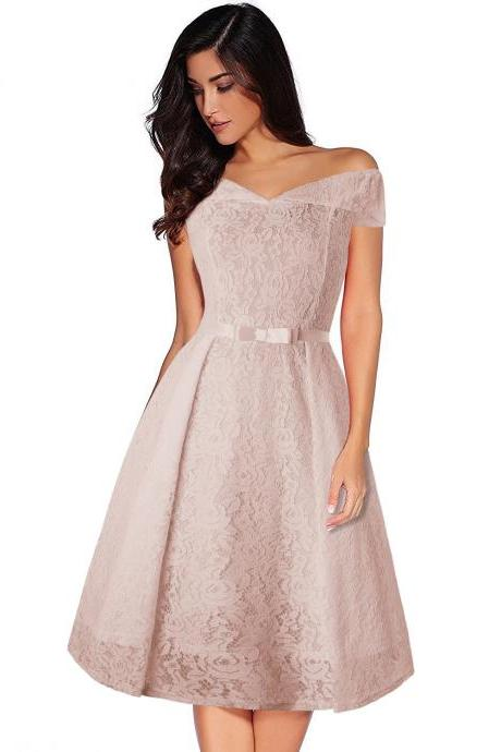 Women Floral Lace Dress Off the Shoulder Casual Patchwork A Line Formal Party Dress apricot