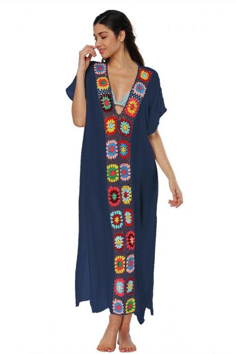 Women Summer Beach Dress V Neck Short Sleeve Patchwork Casual Loose Long Maxi Dress Beachwear navy blue