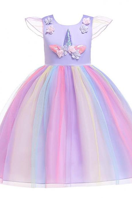 Unicorn Flower Girl Dress Princess Birthday Formal Cosplay Party Dress Children Kids Clothes lilac