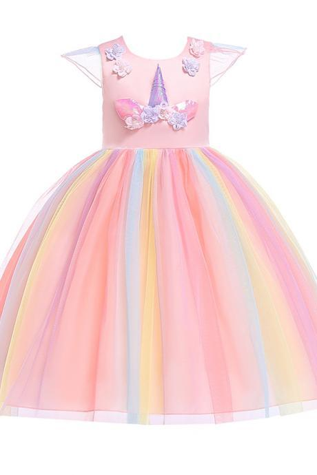 Unicorn Flower Girl Dress Princess Birthday Formal Cosplay Party Dress Children Kids Clothes salmon