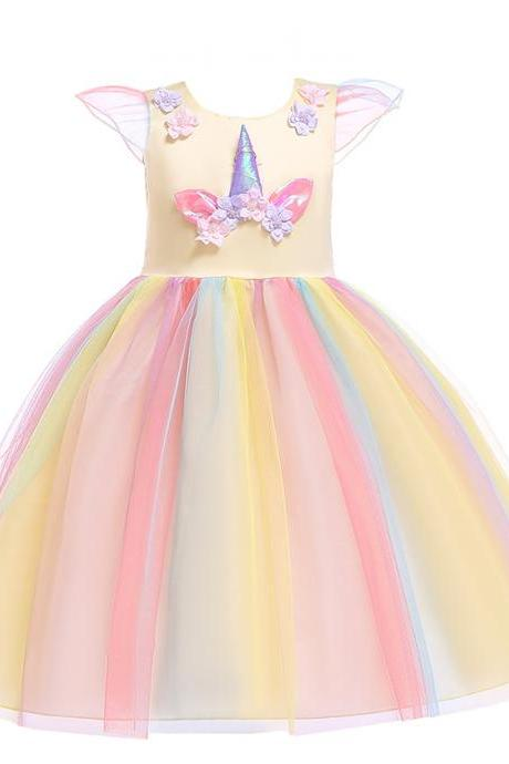 Unicorn Flower Girl Dress Princess Birthday Formal Cosplay Party Dress Children Kids Clothes yellow