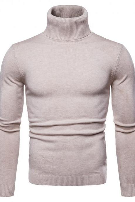 Men Knitted Sweater Autumn Winter Turtleneck Long Sleeve Casual Slim Pullover Tops beige